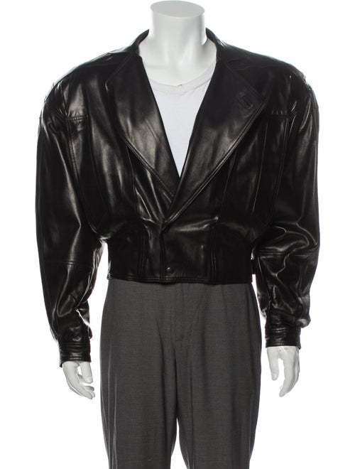 Claude Montana Leather Moto Jacket Black