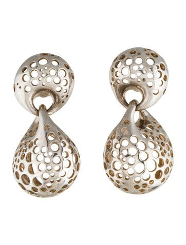 Sterling Perforated Clip On Earrings