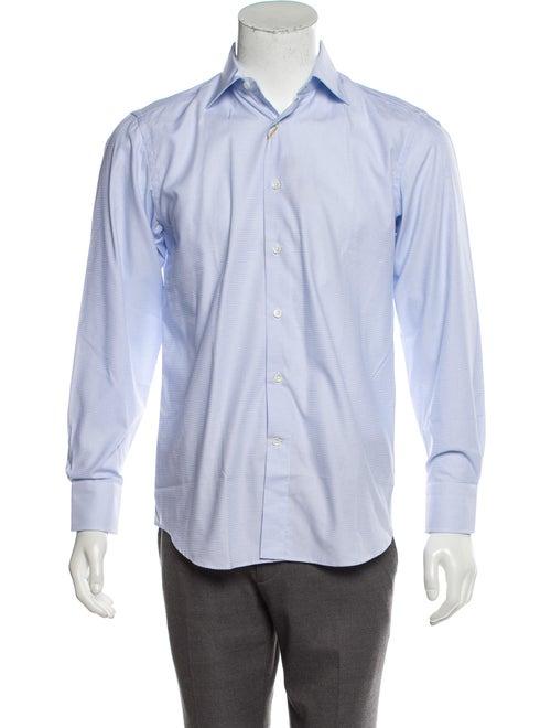 Canali Woven Button-Up Shirt blue