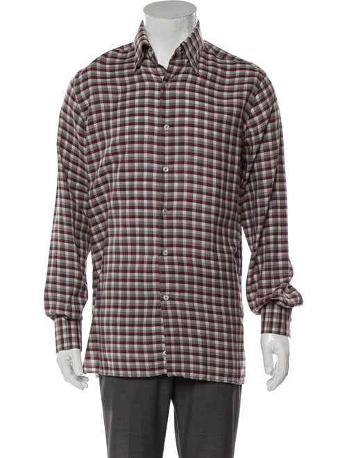 Canali Plaid Woven Shirt red