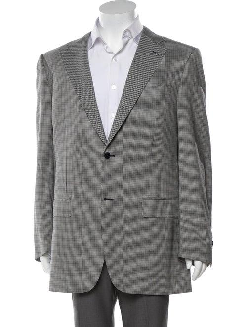 Canali Wool Plaid Pattern Blazer grey