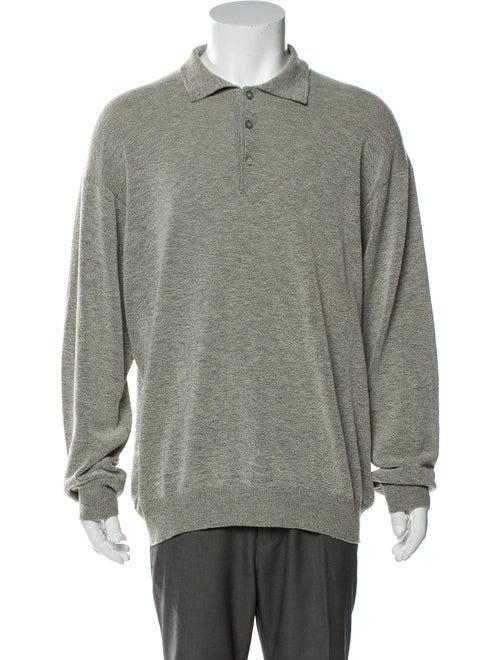 Canali Wool V-Neck Polo Shirt Wool