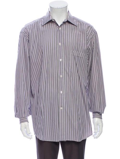 Canali Striped Long Sleeve Dress Shirt Purple