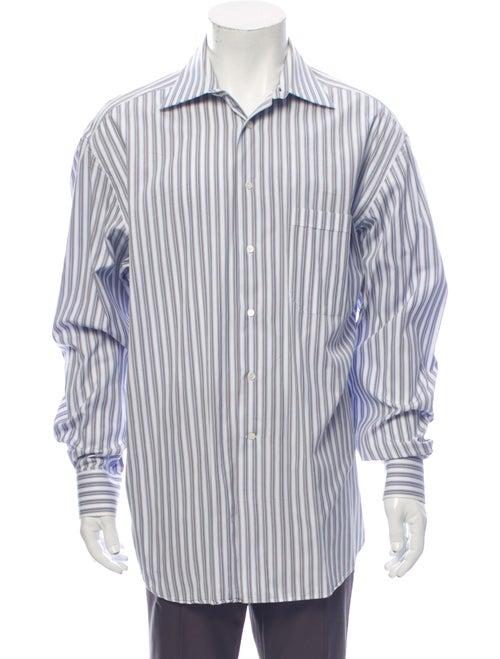 Canali Striped Long Sleeve Dress Shirt White