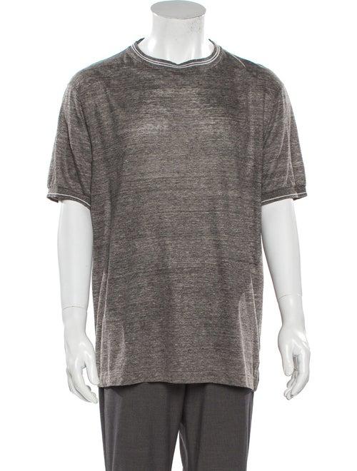Canali Linen Crew Neck T-Shirt Grey
