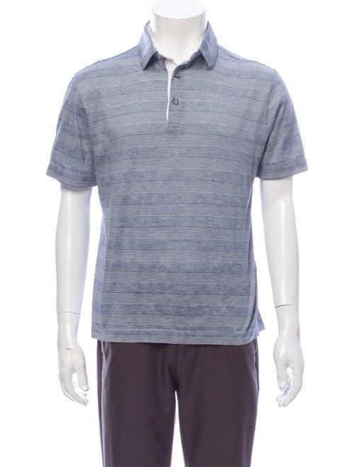 Canali Striped Crew Neck Polo Shirt Blue