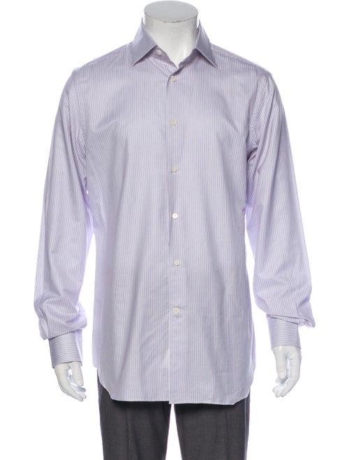 Corneliani Striped Long Sleeve Dress Shirt White