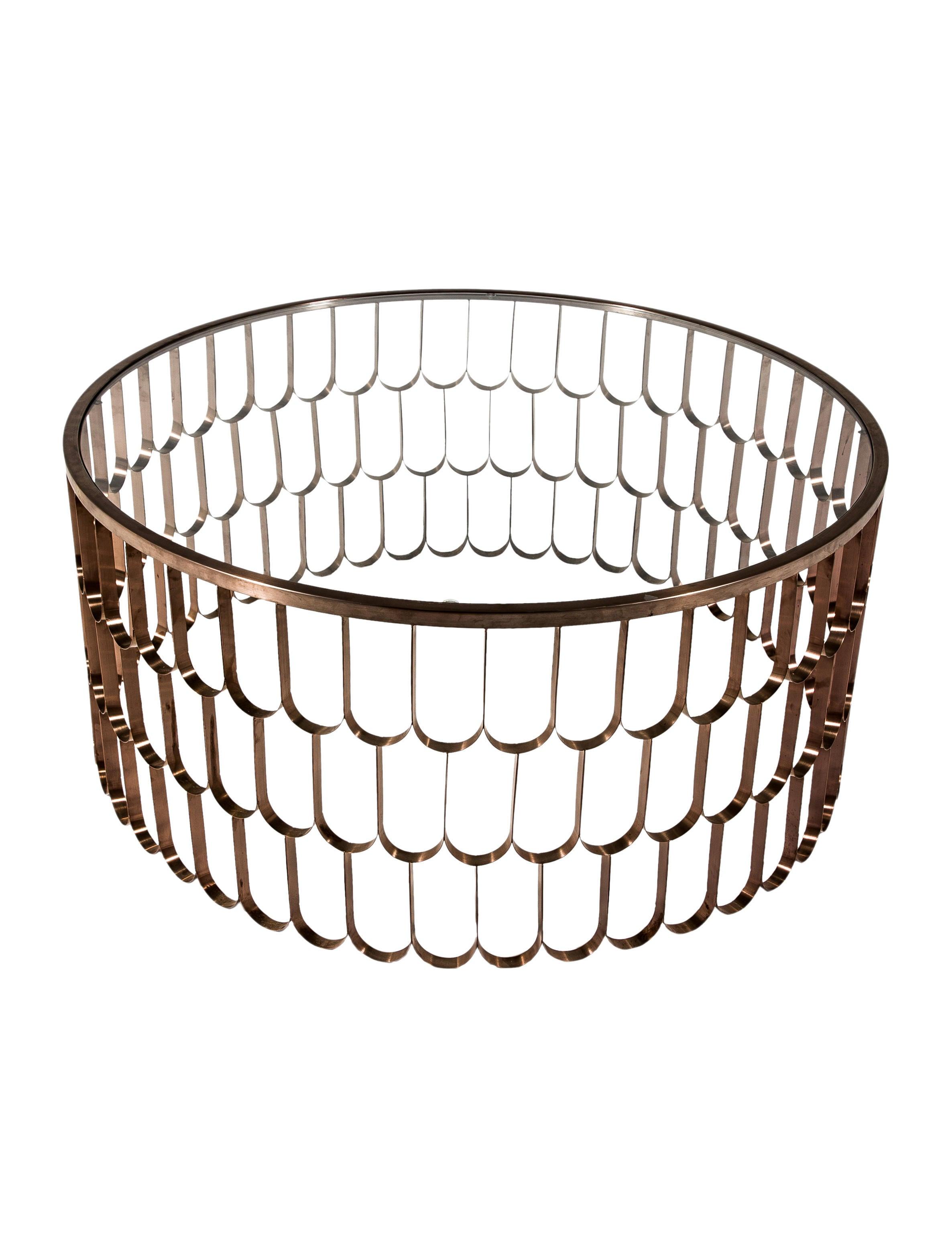 Glass Scalloped Metal Coffee Table Furniture