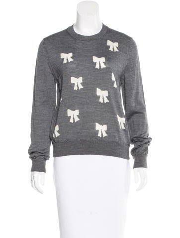 Comme des Garçons Girls' Bow Intarsia Wool Sweater w/ Tags None