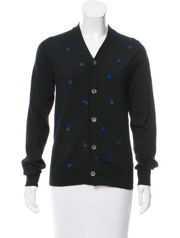 Comme des Garçons Embroidered Wool Cardigan None
