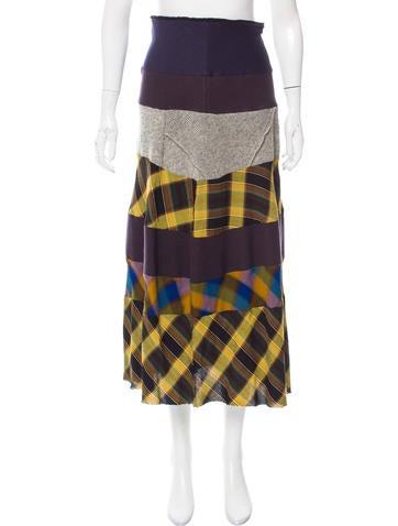 Comme des Garçons Patchwork Midi Skirt None