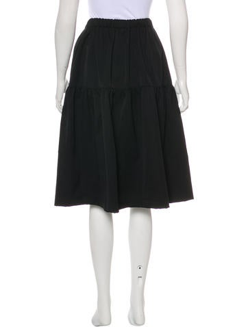 Pleated A-Line Knee-Length Skirt