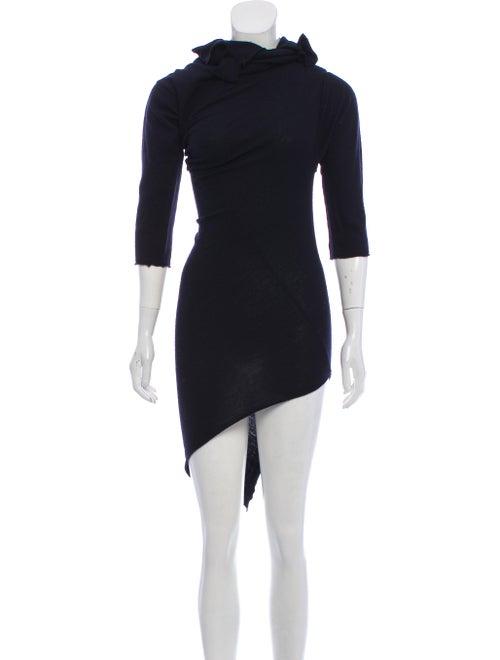 Comme des Garçons Vintage Wool Mini Dress Navy - image 1