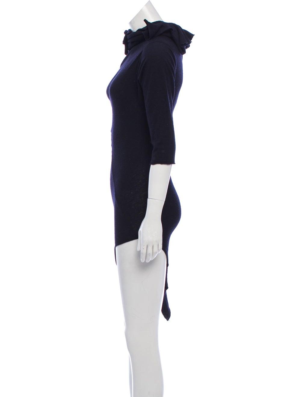 Comme des Garçons Vintage Wool Mini Dress Navy - image 2