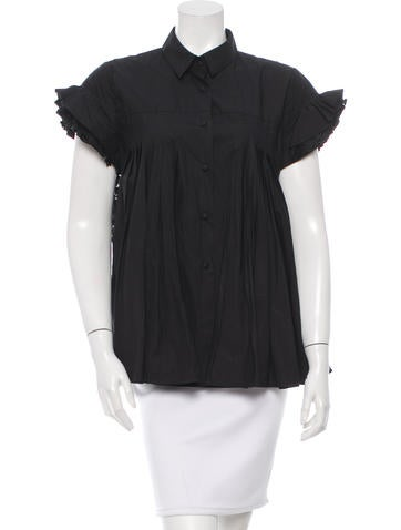 Co. Pleated Lace-Trimmed Top
