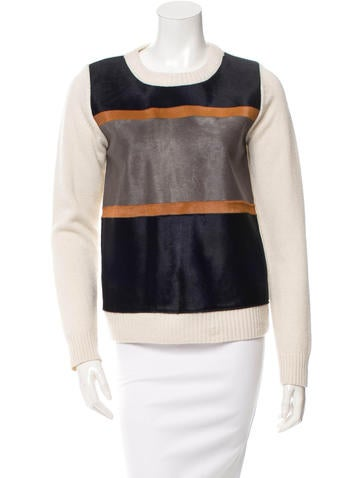 Co. Ponyhair-Trimmed Cashmere Sweater None