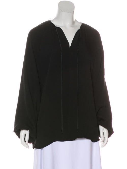 Co. Silk Long Sleeve Blouse Black