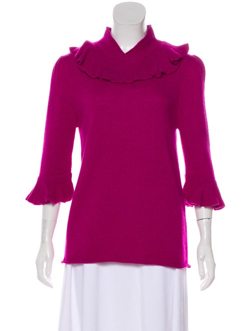 Co. Alpaca Ruffled Sweater Magenta