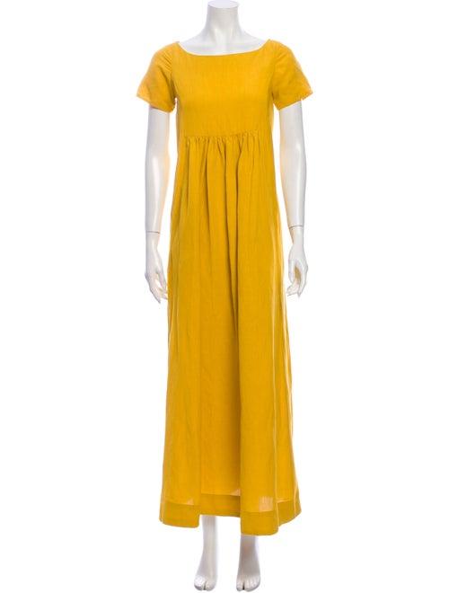 Co. Bateau Neckline Long Dress Yellow