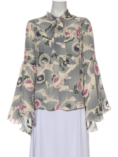 Co. Silk Floral Print Blouse Blue