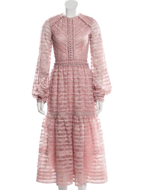 Costarellos Lace Midi Dress Pink