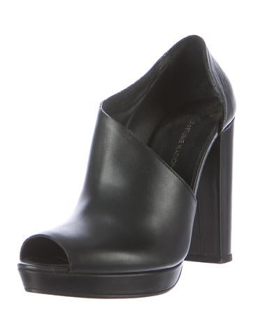 Peep-Toe Leather Booties