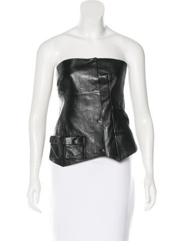 Costume National Leather Strapless Top None