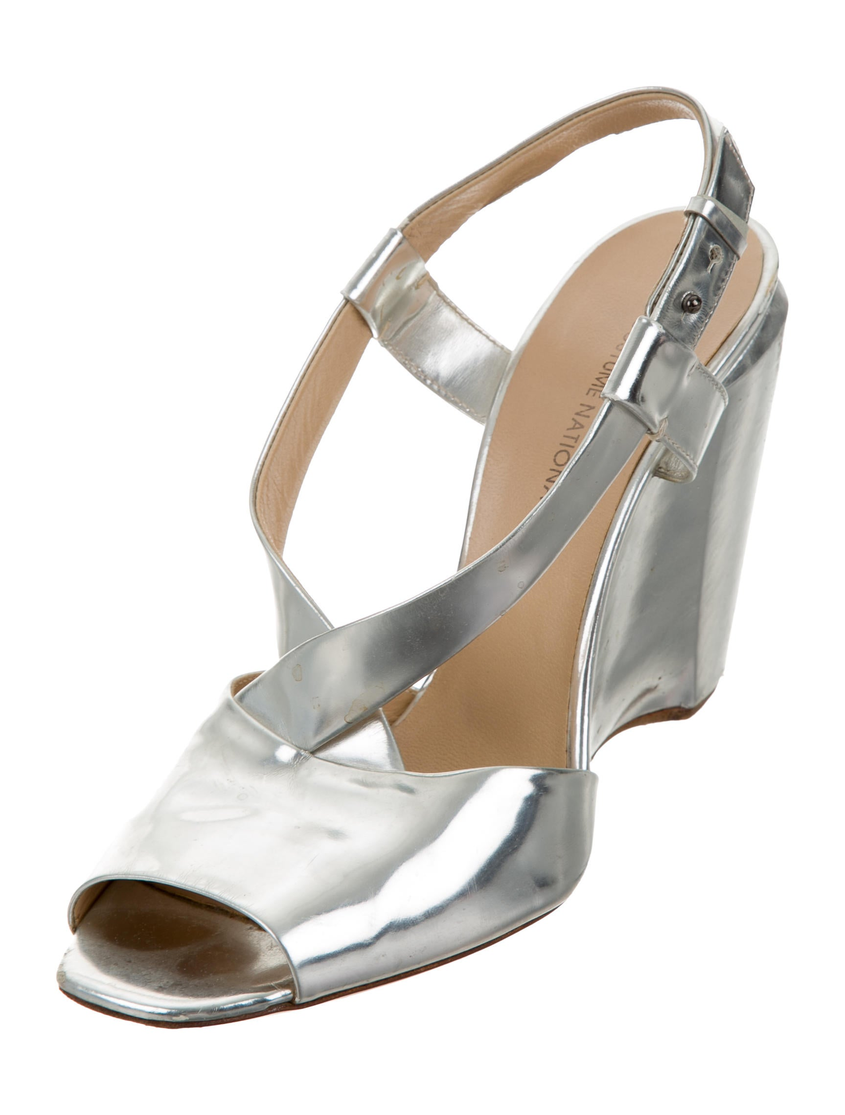 costume national metallic wedge sandals shoes cot23450