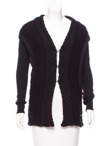 Costume National Distressed Cable Knit Cardigan None