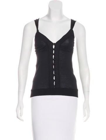 Costume National Sleeveless Button-Up Top None