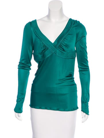 Costume National Long Sleeve V-Neck Top None