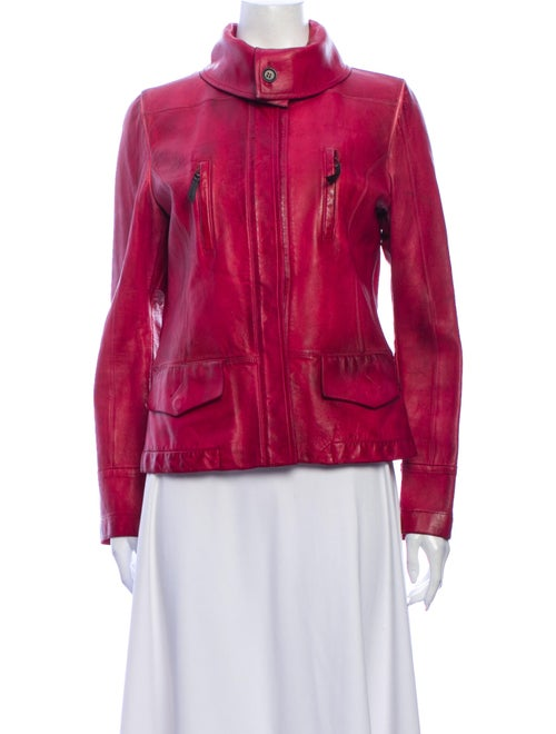 Costume National Leather Jacket Red