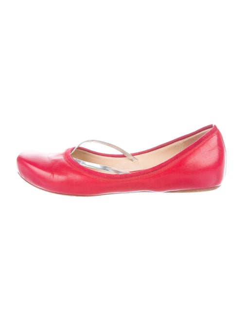 Costume National Leather Ballet Flats Red