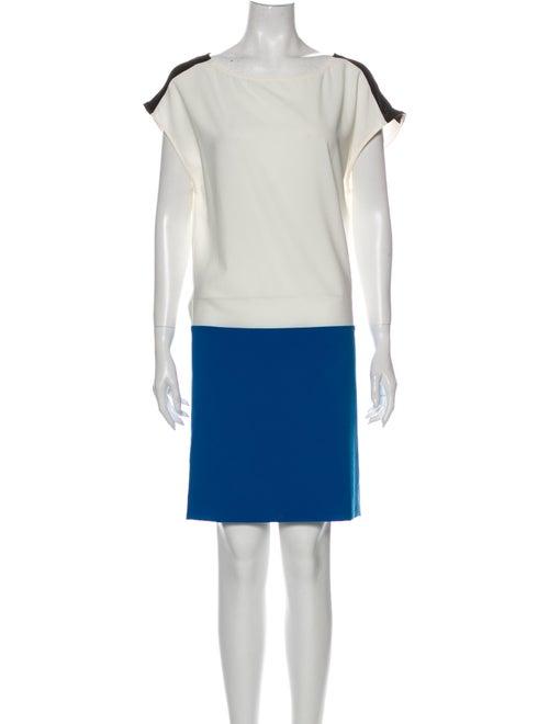 Costume National Colorblock Pattern Mini Dress Whi