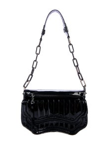 Costume National Quilted Patent Leather Shoulder Bag