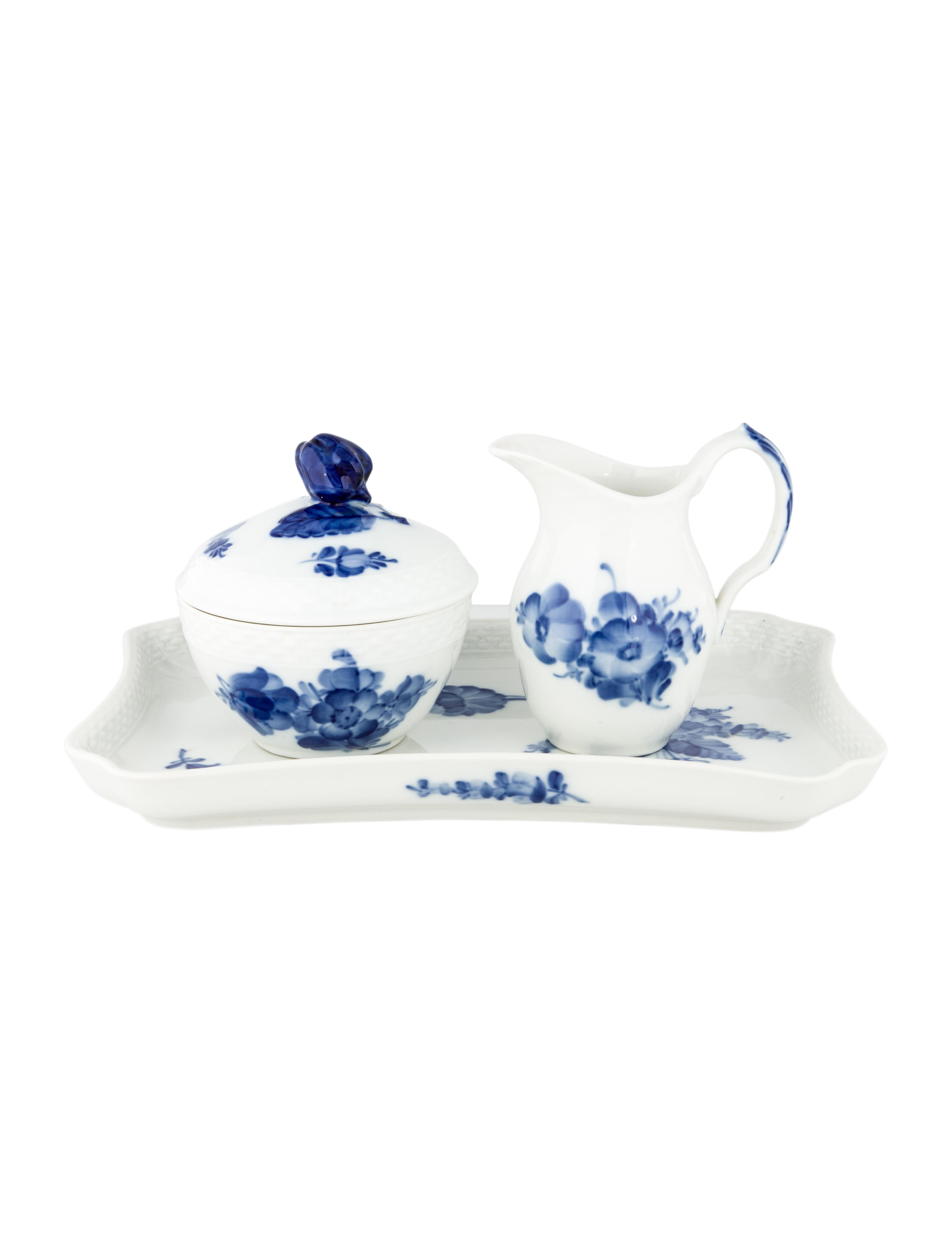 Royal copenhagen blue flowers braided sugar bowl creamer for Kitchen set royal surabaya