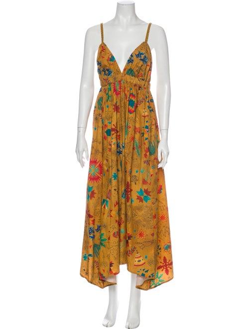 Chufy Printed Long Dress Yellow
