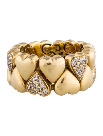 Pavé Double Heart Link Ring