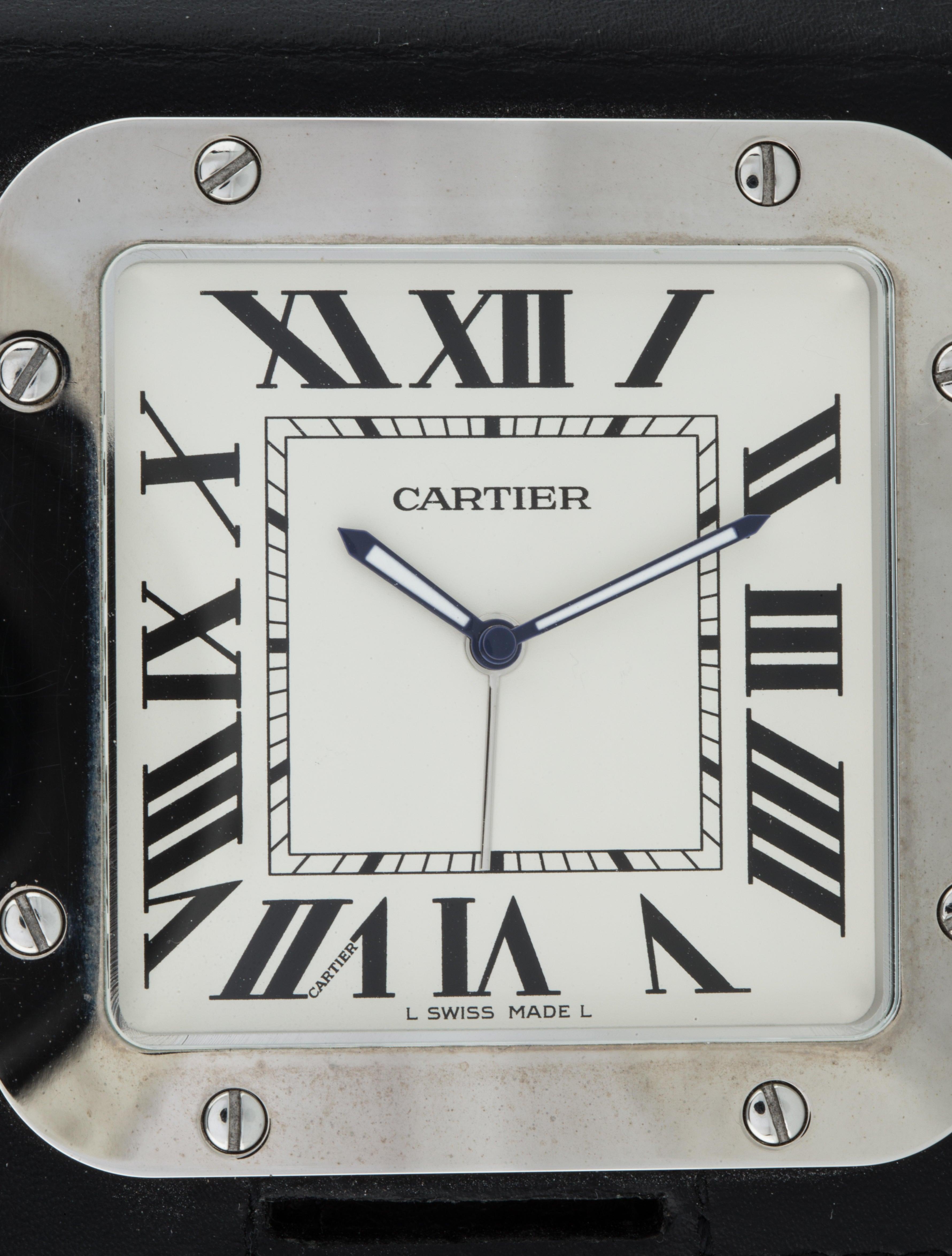 Cartier santos travel clock bracelet crt21995 the realreal santos travel clock amipublicfo Images
