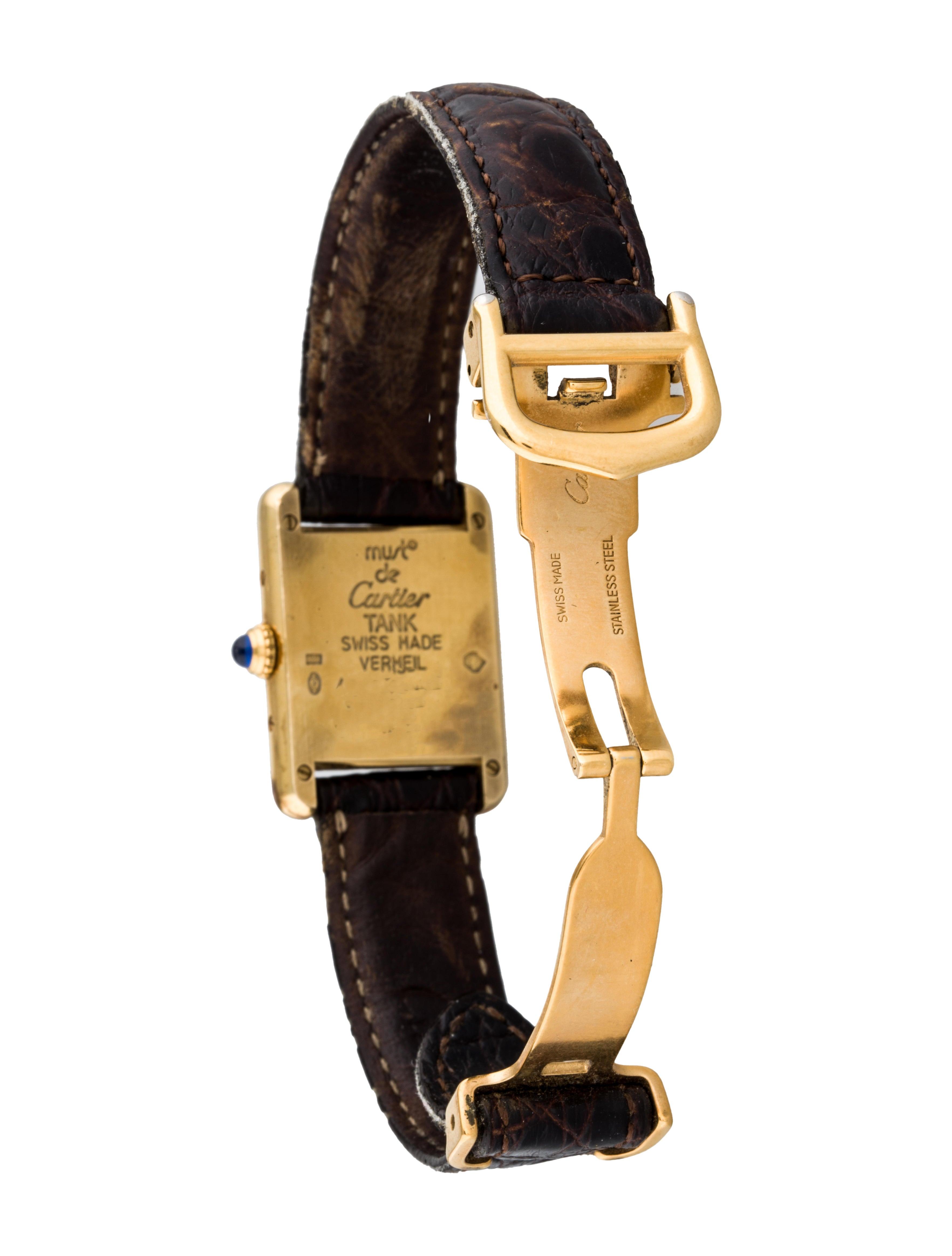 Cartier Must de Cartier Tank Vermeil Watch 1613 Strap  : CRT247275enlarged from www.therealreal.com size 3529 x 4656 jpeg 510kB