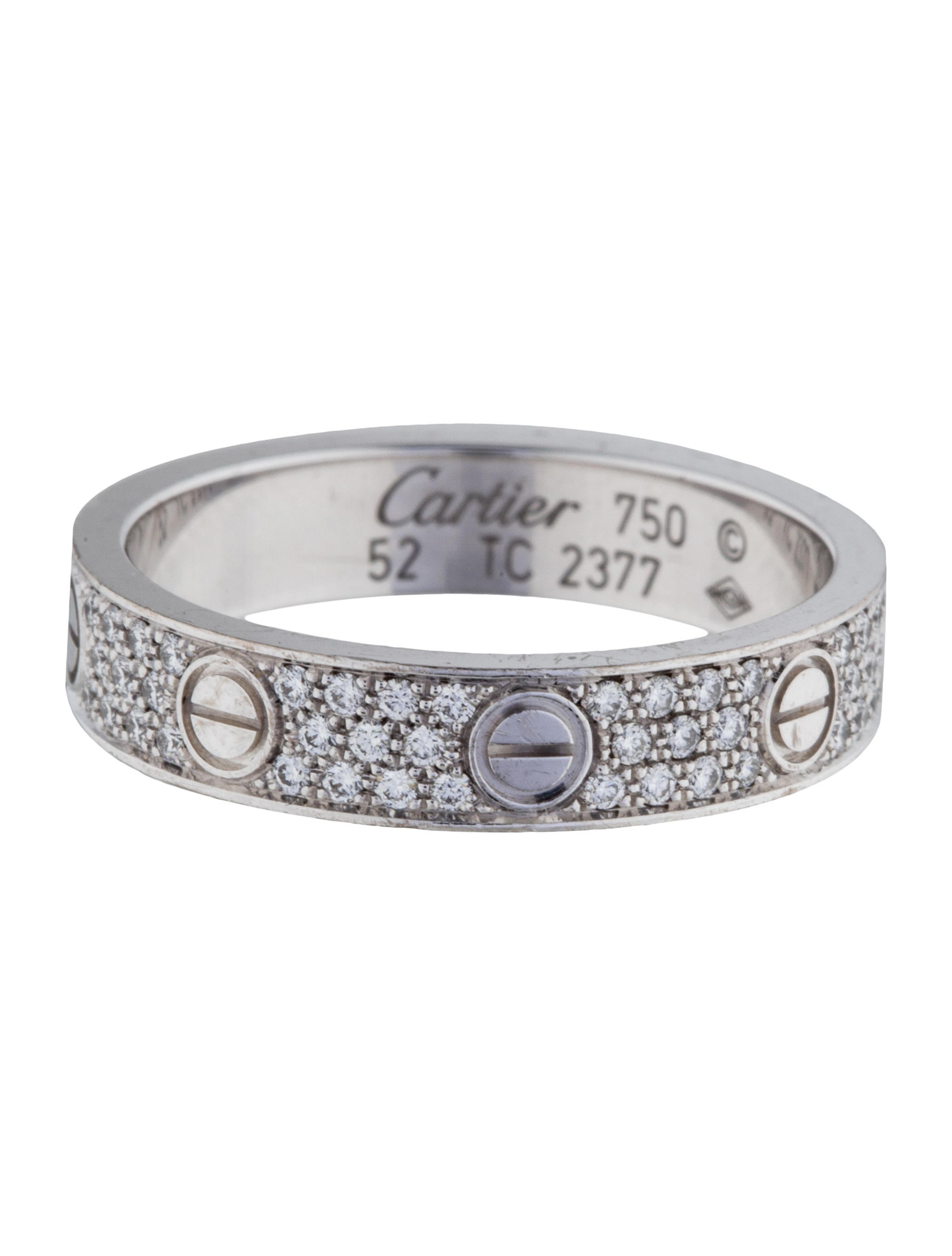 Cartier Diamond Paved Love Wedding Band Rings Crt25431