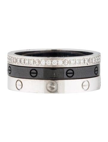 Ceramic and Diamond LOVE Ring