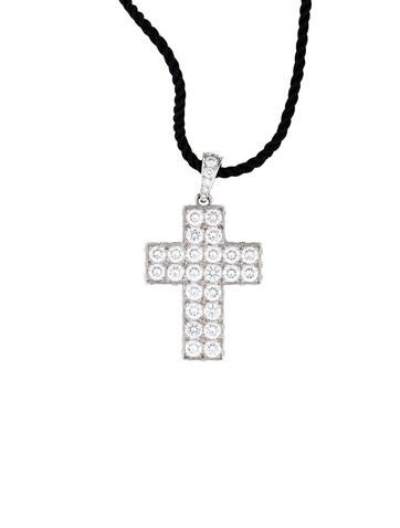 Cartier White Gold Diamond Cross Pendant on Silk Cord Necklace