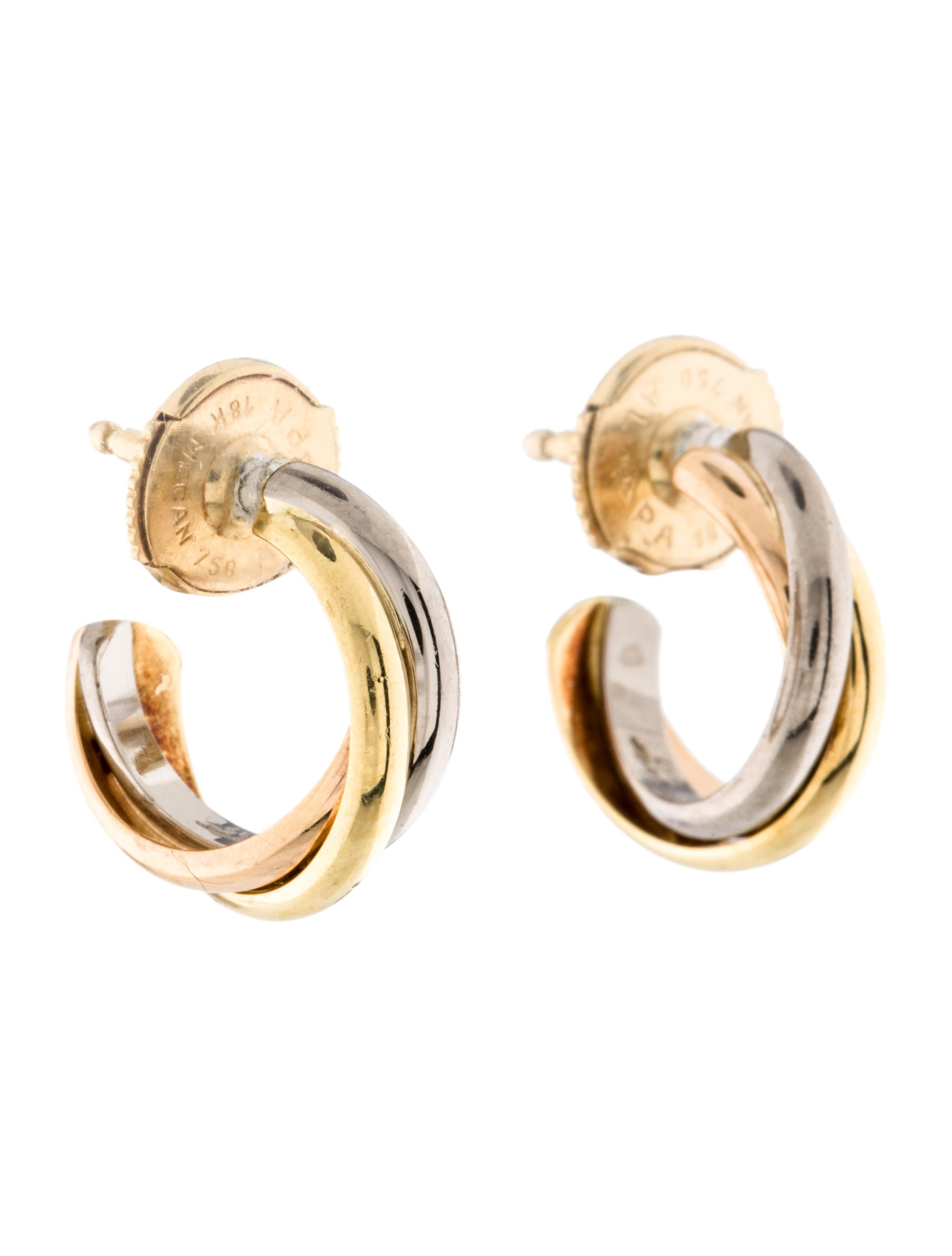 products long de uponpark cartier trinity baby diamond drop gold earrings