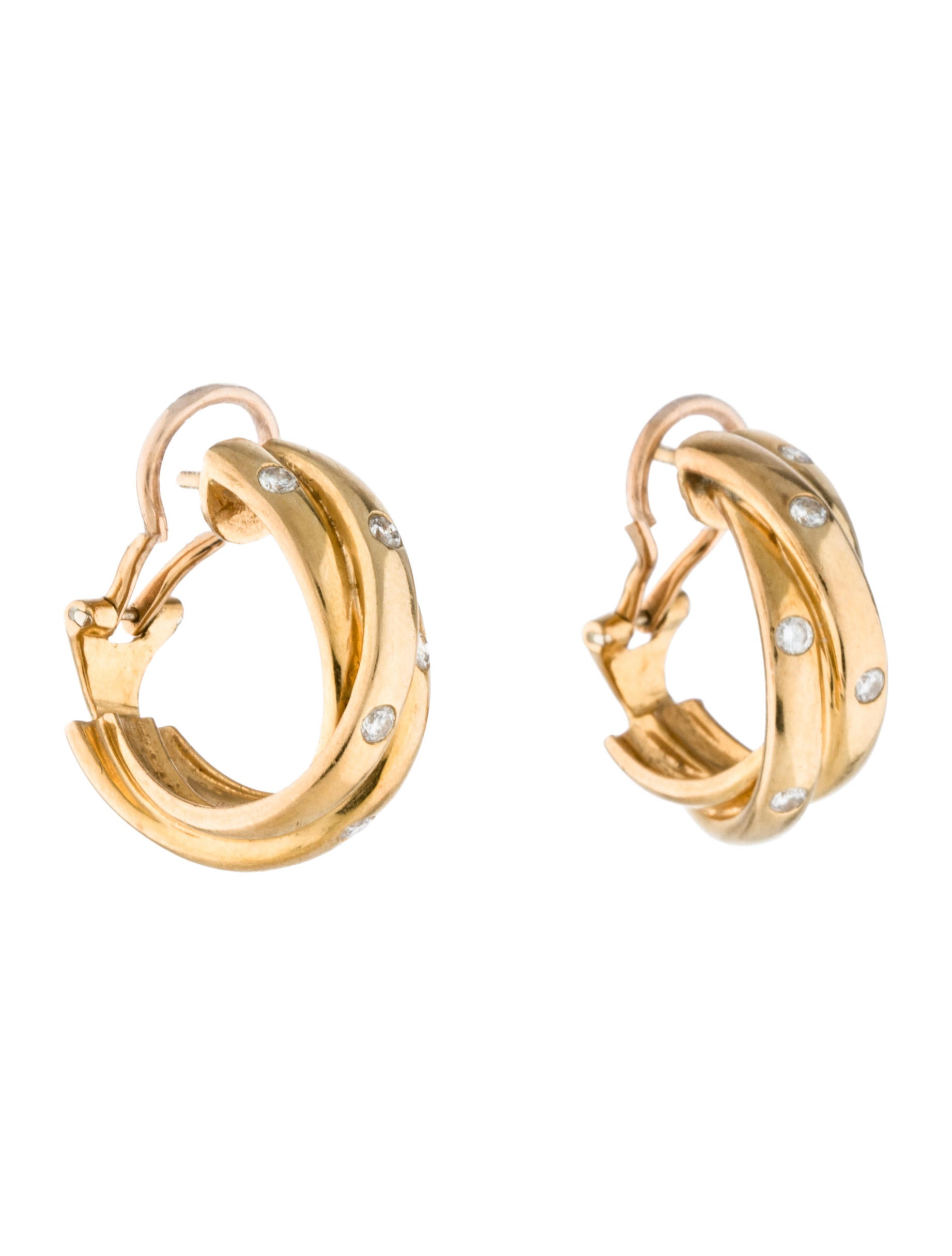 yellow cartier pink white de earrings trinity c gold