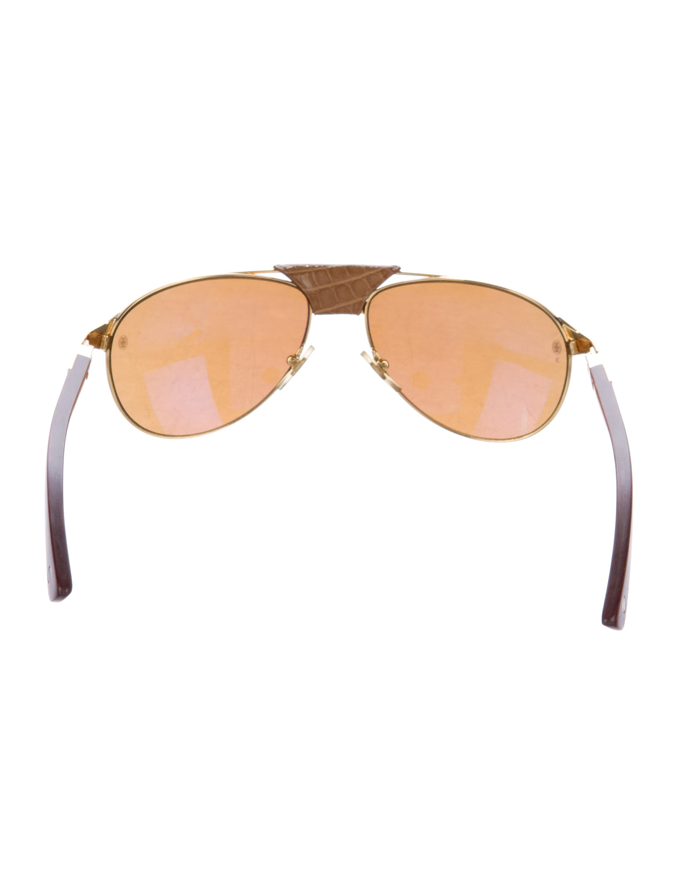 b5f786bf40 Cartier Santos Dumont Aviator Wood And Leather Sunglasses