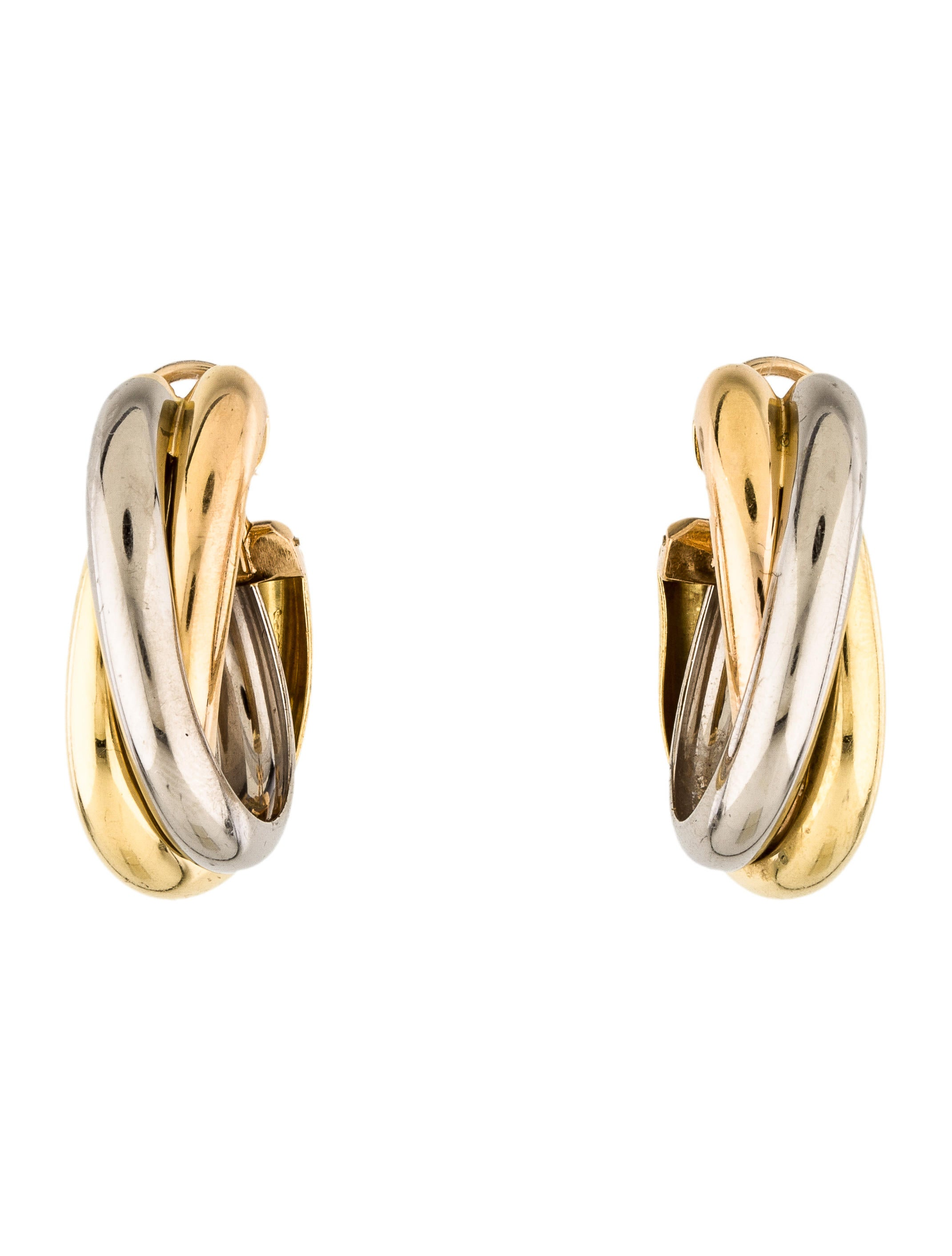 trinity vintage hoop yellow white products rose de cartier gold medium earrings