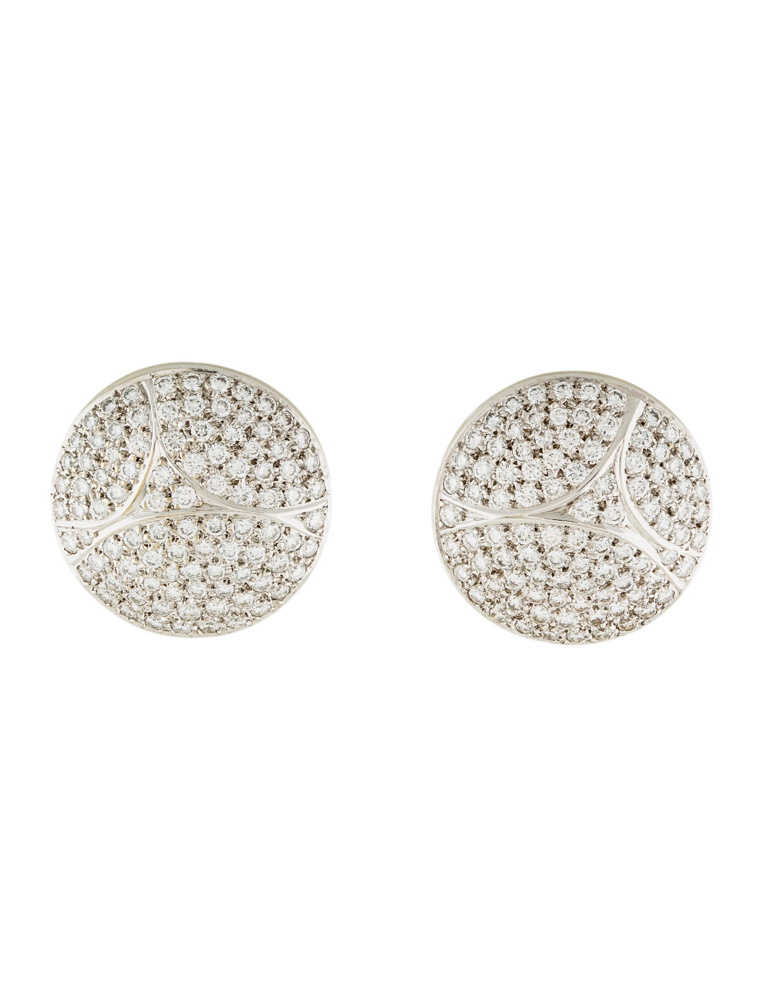 Cartier 18k Pavé Diamond Disc Earrings Crt32152 The Realreal