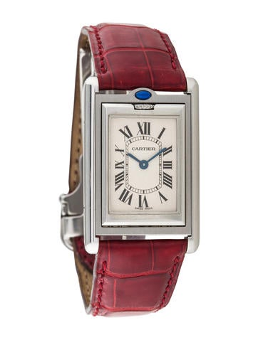 cartier tank basculante watch w alligator strap