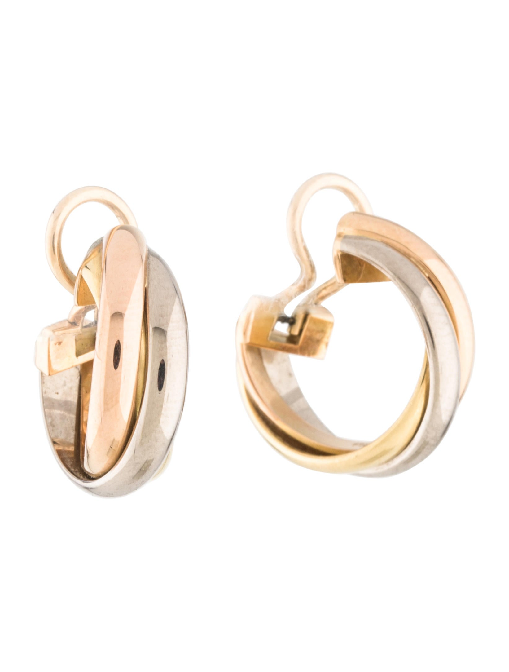 hoop de l gold trinity white color tri cartier yellow diamond small pink earrings